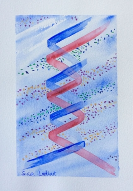 DNA double helix. Watercolour