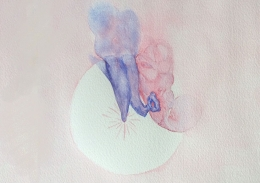 Middle and inner ear. Watercolour